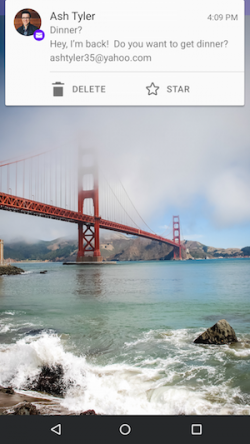 Unter Android lassen sich nun direkt in Benachrichtigungen zu neu eingegangenen E-Mails Aktionen ausführen (Bild: Yahoo).