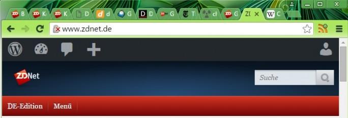 Chrome weist darauf hin, dass ZDNet.de unverschlüsseltes HTTP einsetzt (Screenshot: ZDNet).