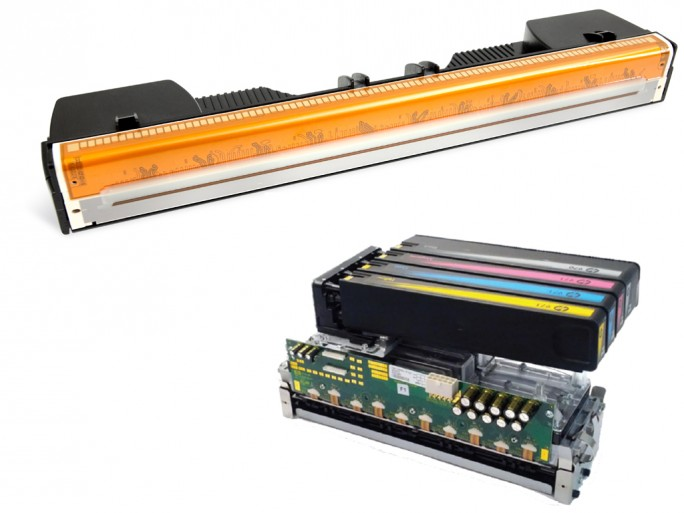 Für den Einsatz in schnellen Druckern vorgesehene seitenbreite Druckköpfe von Memjet (oben) und HP (Bild: ZDNet.de mit Material von Memjet und HP)