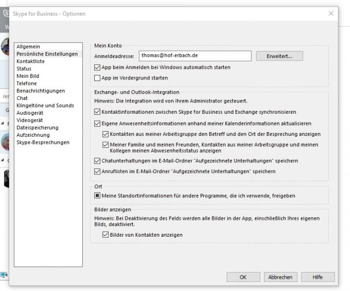 In den Einstellungen können Anwender auch konfigurieren wie Skype starten soll (Screenshot: Thomas Joos).