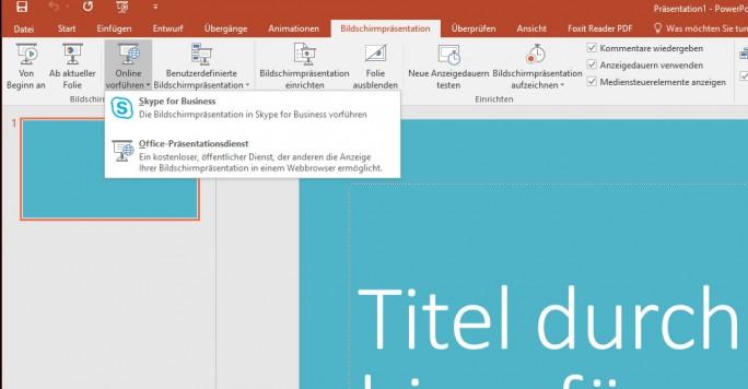 PowerPoint-Präsentationen lassen sich auch direkt aus PowerPoint heraus mit Skype for Business durchführen (Screenshot: Thomas Joos).