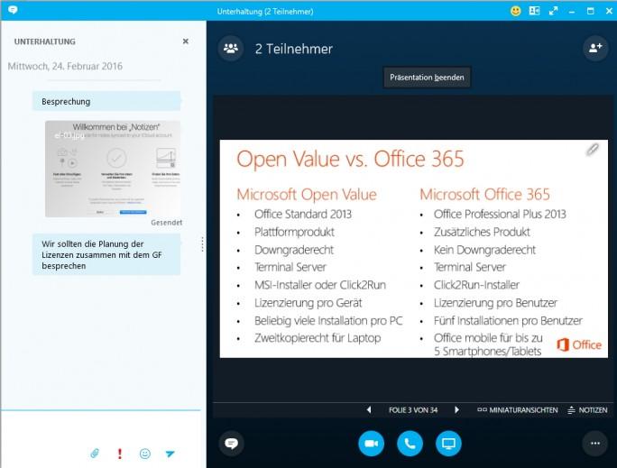 Mit dem Skype-Client können Anwender Präsentationen auch online durchführen (Screenshot: Thomas Joos).