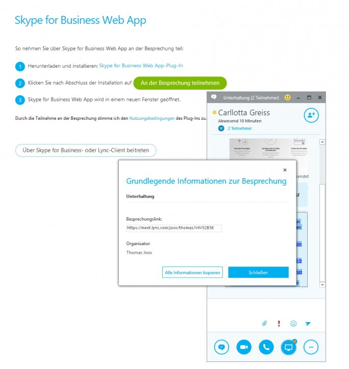 Mit der Skype for Business Web App können auch externe Teilnehmer an der Besprechung teilnehmen (Screenshot: Thomas Joos).