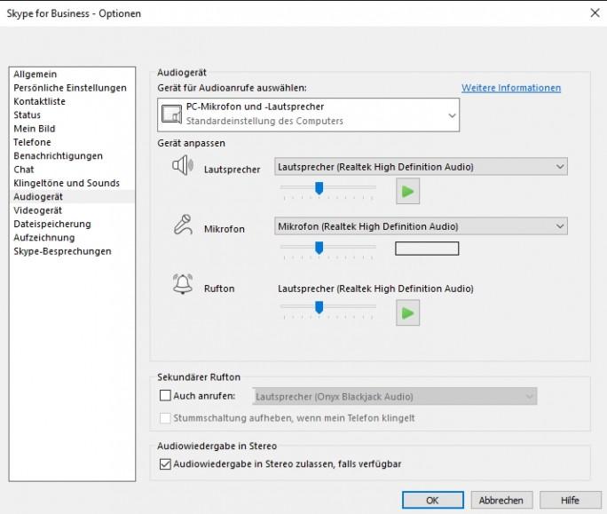In den Skype for Business-Optionen werden die Audio-Einstellungen für Skype vorgenommen. Zuvor müssen aber die Systemeinstellungen in Windows konfiguriert werden (Screenshot: Thomas Joos).