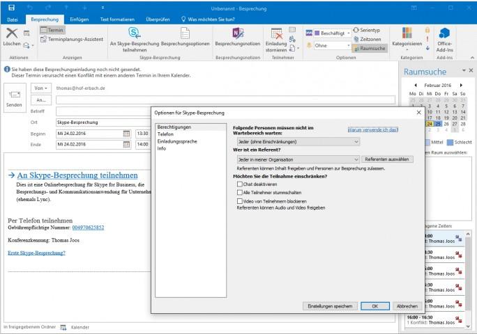 Skype-Besprechungen enthalten automatisch alle notwendigen Optionen zum Teilnehmen an einem Skype-Meeting (Screenshot: Thomas Joos).