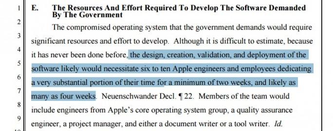 Apple: Sechs bis zehn Mitarbeiter benötigen zwei bis vier Wochen (Screenshot: ZDNet.de)