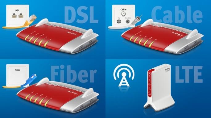Auf dem MWC in Barcelona wird AVM Fritzbox-Modelle für die Breitbandtechniken VDSL, Kabel, Glasfaser und LTE vorstellen (Bild: AVM).