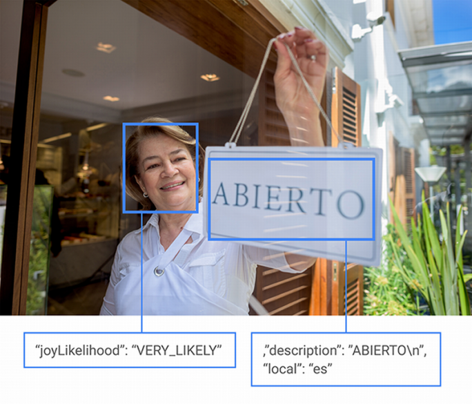 Googles Cloud Vision kann beispielsweise Gemütszustände aus einem abgebildeten Gesicht ablesen oder Text in verschiedenen Sprachen erkennen (Bild: Google).