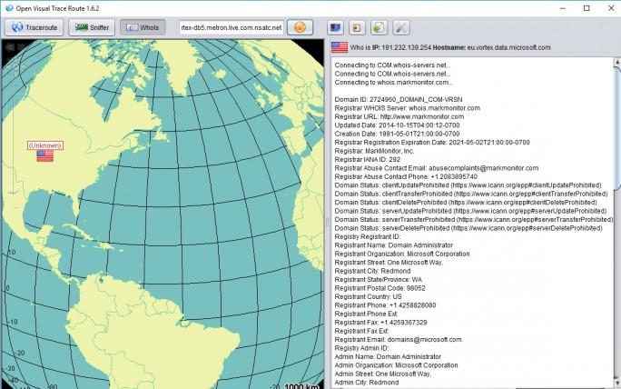 Open Visual Trace Route verfolgt Wege eines Netzwerkpaketes nach und zeigt genaue Informationen zu Servern an (Screenshot: Thomas Joos).