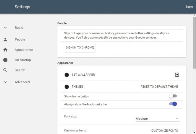 Seite für Einstellungen von Chrome im Material Design (Screenshot: ZDNet.de)