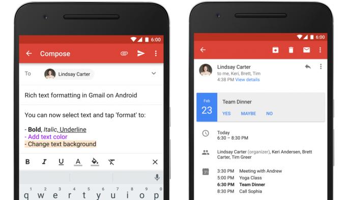 Gmail für Android unterstützt neuerdings Rich-Text-Formatierung und Direktantworten auf Kalendereinladungen (Bild: Google).