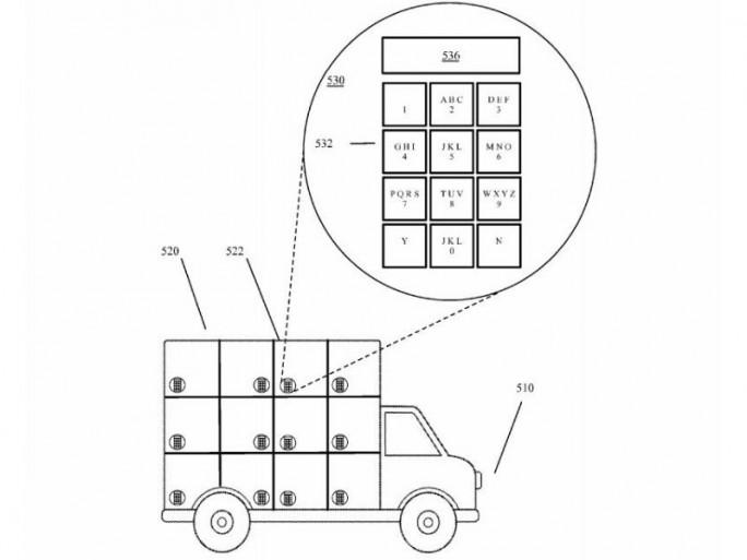 Google hat sich selbstfahrende Lieferwagen mit Schließfächern patentieren lassen (Bild: Google/USPTO).