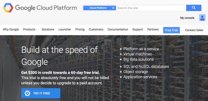 Startseite Google Cloud Platform (Screenshot: ZDNet)