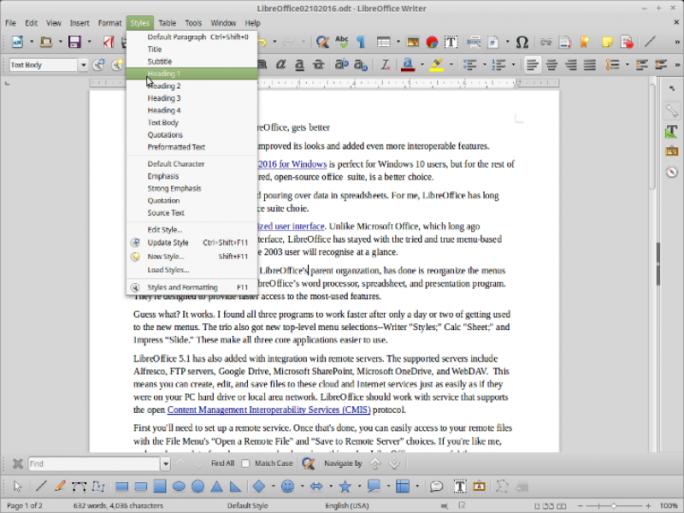 """Neue Menüeinträge wie hier """"Formatvorlagen"""" in Writer sollen den Zugriff auf häufig genutzte Funktionen beschleunigen (Screenshot: Steven J. Vaughan-Nichols/ZDNet.com)."""