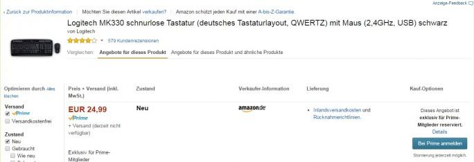 Logitech-Tastatur exklusiv für Prime-Kunden von Amazon (Screenshot: ZDNet.de)