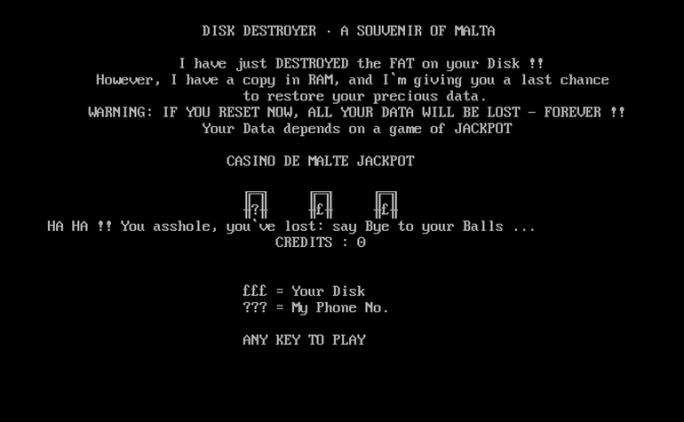 Casino: Festplatteninhalt verspielt (Screenshot: Malware Museum)