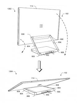 Microsofts Konzept eines zusammenfaltbaren, modularen Computers mit Surface-ähnlichem Display (Bild: Microsoft/USPTO).