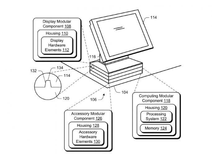 Das Patent sieht auch eine Basiseinheit mit Stapelmodulen vor (Bild: Microsoft/USPTO).