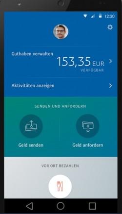 """Paypals überarbeitete App rückt """"Senden und anfordern"""" in den Mittelpunkt (Screenshot: Paypal)."""