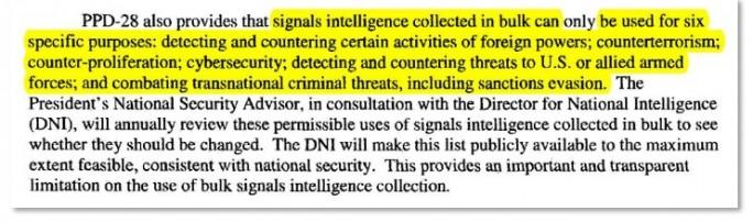 Der Schutz vor Massenüberwachung durch Privacy Shield lässt sechs Löcher (Screenshot und Hervorhebung: Max Schrems).