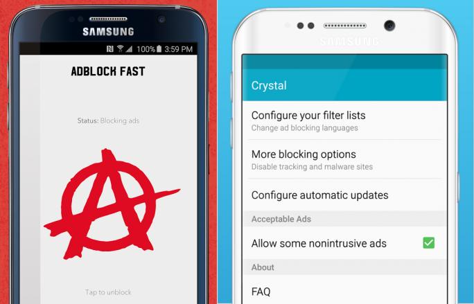 """Adblock Fast und Crystal sind Erweiterungen für den Android-Browser """"Samsung Internet 4.0"""" (Bild: Adblock Fast/Crystal)."""