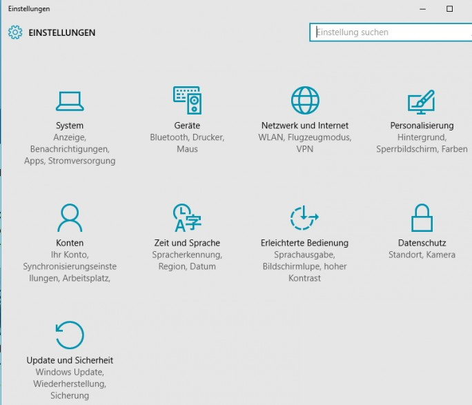 Die neuen PC-Einstellungen wurden von Microsoft deutlich vereinfacht und übersichtlicher gestaltet. Der Bereich soll die Systemsteuerung auf Dauer ersetzen (Screenshot: Thomas Joos).