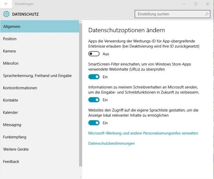 In den Datenschutz-Einstellungen lassen sich mit Schiebereglern viele Verbesserungen bezüglich der Sicherheit in Windows 10 erreichen (Screenshot: Thomas Joos).