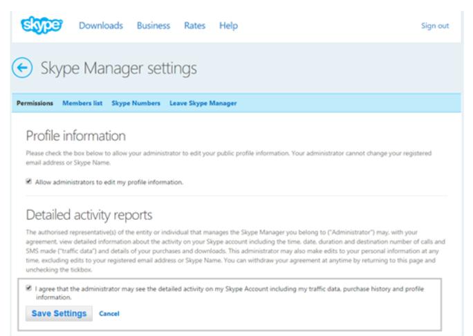 Skype-Manager-Administratoren benötigen künftig die Zustimmung der Benutzer, um Profile zu ändern oder Nutzungsdaten einzusehen (Screenshot: Microsoft).