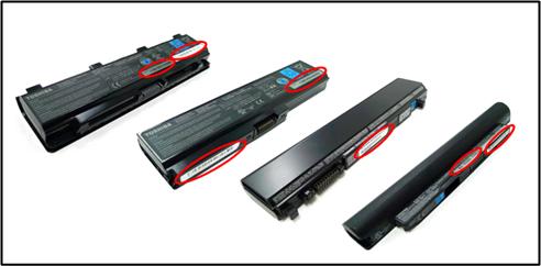 Artikel- und Seriennummer des Akkus stehen auf einem Aufkleber (Bild: Toshiba).