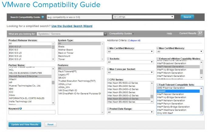 Mit dem VMware-Compatibility-Guide können Unternehmen eine Vorauswahl von Servern treffen, die zu der verwendeten Virtualisierungslösung optimal geeignet sind (Screenshot: ZDNet.de)