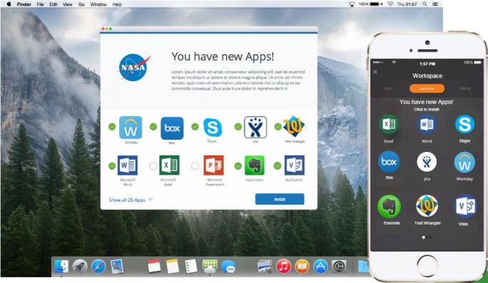 Workspace One erlaubt Anwendern den Zugriff auf einen personalisierten Unternehmens-App-Store (Bild: VMware).