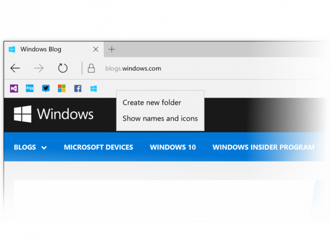 Nutzer können sich auf der Favoritenleiste von Edge nun auch nur Symbole anzeigen lassen (Bild: Microsoft).