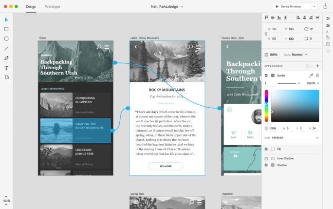 Das unter dem Codenamen Project Comet entwickelte Adobe XD liegt ab sofort als öffentliche Vorschau für Mac OS X vor (Bild: Adobe).