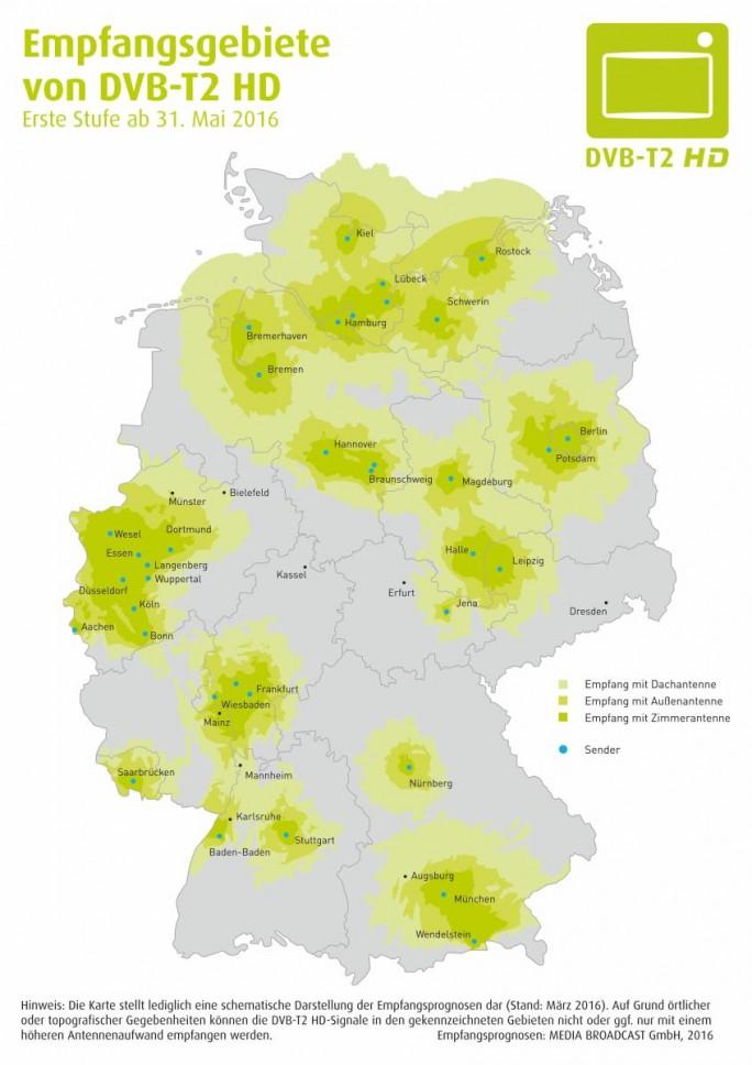 Empfangsgebiete von DVB-T2 HD in der ersten Ausbaustufe ab 31. Mai 2016 (Bild: Projektbüro DVB-T2 HD Deutschland)