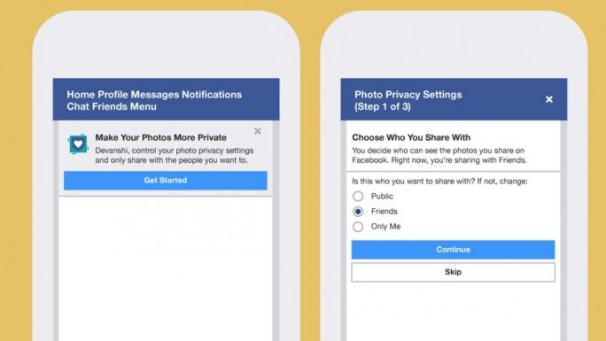 """Die aktuell getestete Sicherheitsfunktion """"Photo Checkup"""" leitet Nutzer schrittweise durch die Privatsphäre-Einstellungen für Bilder (Bild: Facebook)."""