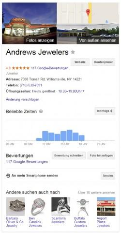 Infobox zu Juweliergeschäft in Google-Suche (Screenshot: ZDNet.de)