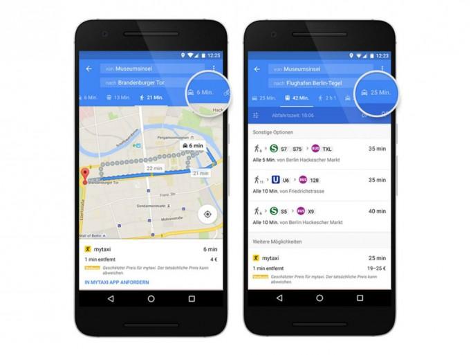 Google Maps bezieht künftig auch Taxifahrten in die Routenberechnung ein (Bild: Google).