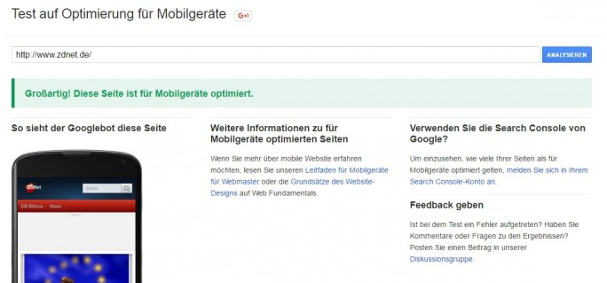 Test auf Optimierung für Mobilgeräte bestanden (Screenshot: ZDNet.de)