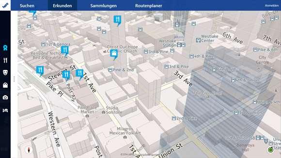 3D-Gebäudeansicht von Here Maps unter Windows 10 (Bild: via Microsoft)