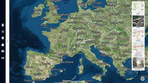 Satellitenbild-Ansicht von Here Maps unter Windows 10 (Bild: via Microsoft)