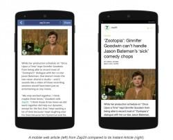 Vergleich zwischen Mobilversion (links) und Instant Article (Bild: Facebook)