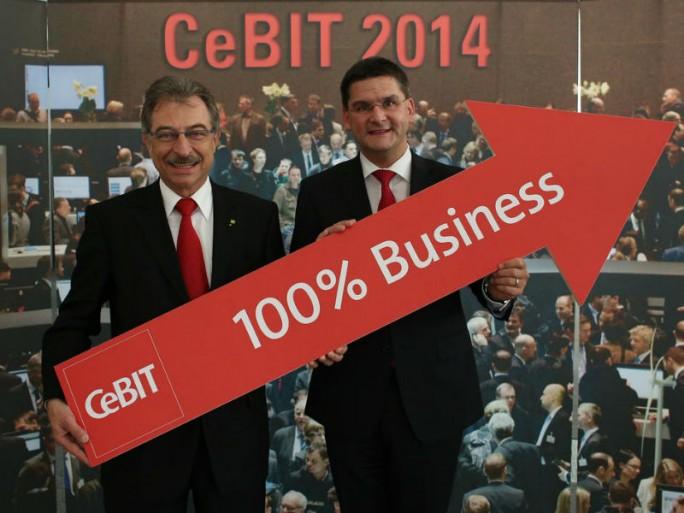 Bitkom-Präsident Dieter Kempf und der CeBIT-Vorstand Oliver Frese (Bild: Deutsche Messe)