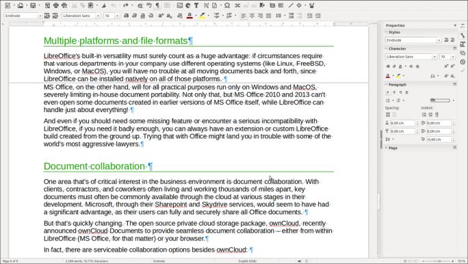 Bei ausgeblendetem Weißraum entsteht ein kontinuierlicher Textfluss, so dass man vor allem auf kleinen Bildschirmen weniger scrollen muss (Screenshot: TDF).