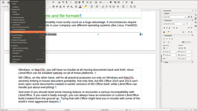 Über einen neuen Menübefehl in Writer lässt sich der Weißraum zwischen zwei Seiten ausblenden (Screenshot: TDF).