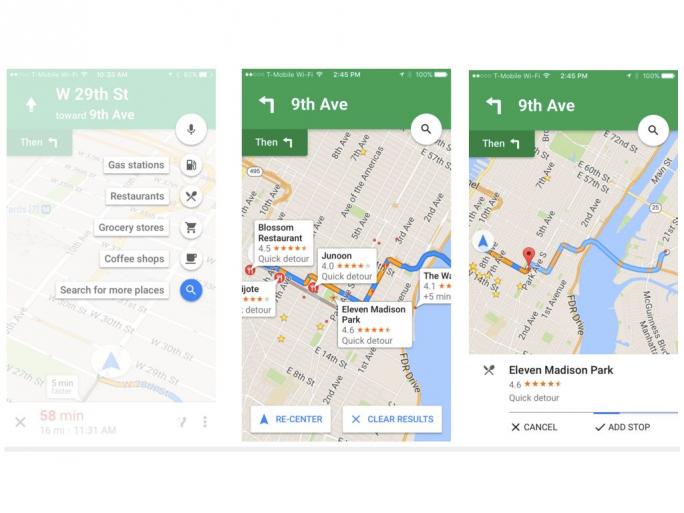 Google Maps für iOS erlaubt es nun, spontan Zwischenstopps einzulegen (Bild: Google).