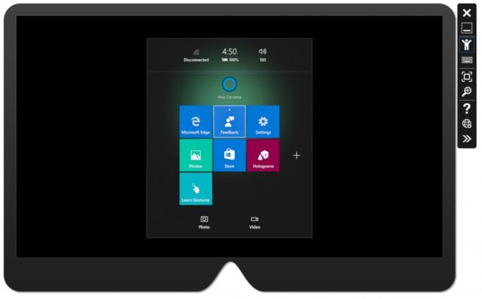 Mit dem HoloLens Emulator können Entwickler ihre holografischen Anwendungen ohne die 3000 Dollar teure Brille auf einem PC testen (Bild: Microsoft).