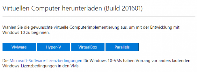 Entwickler können aus vier kostenlosen Paketen für VMware, Microsoft Hyper-V, VirtualBox und Parallels wählen (Screenshot: ZDNet.de).