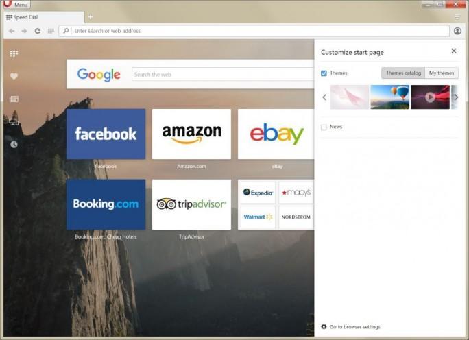 Die Startseite wurde leicht umgestaltet und lässt sich nun einfacher konfigurieren (Bild: Opera Software).