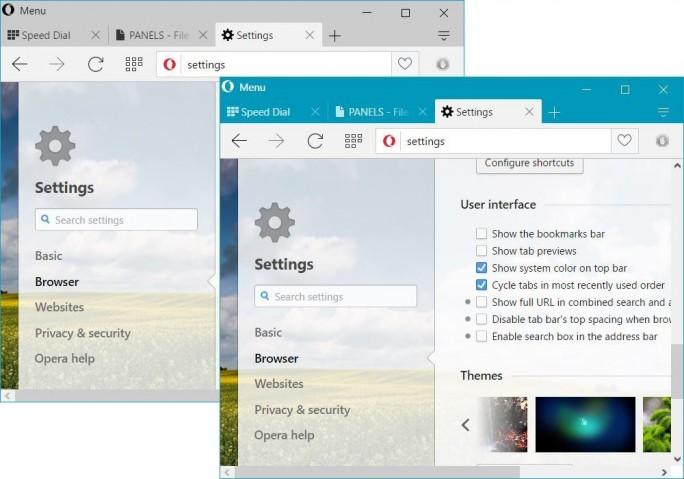 Opera kann jetzt auf Wunsch die Systemfarbe von Windows 10 übernehmen (Bild: Opera Software).