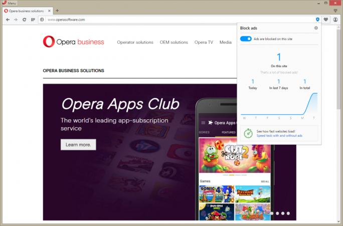Der in Opera für Computer integrierte Werbeblocker informiert auch über die Zahl der gefilterten Anzeigen (Bild: Opera Software).